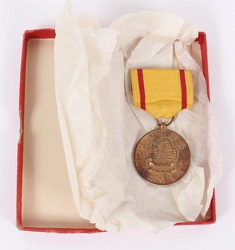 Cold War USMC Marine Corps China Service Medal with red box