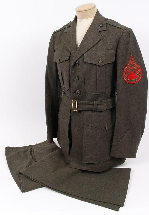 WWII USMC Marine Corps named NCO service dress green uniform