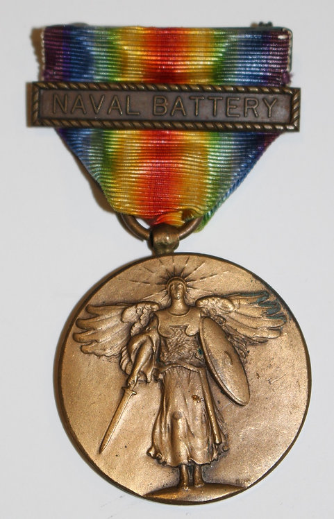 WWI USN Navy Victory Medal with Naval Battery clasps