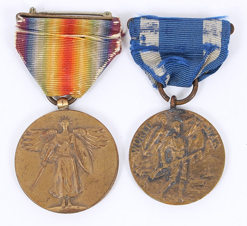 WWI US Army AEF Victory & New York numbered service Medals