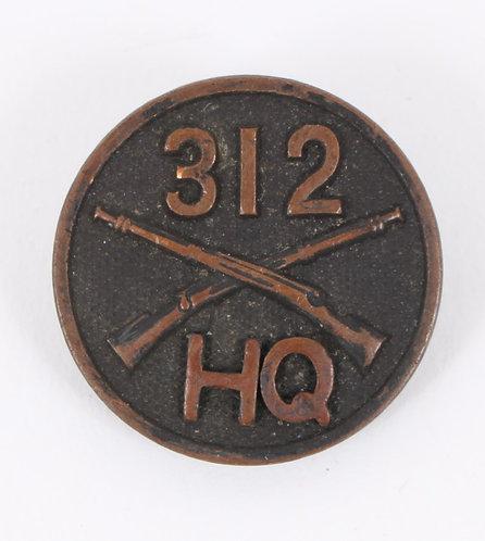 WWI US Army 312th Infantry Regt EM / NCO collar disc insignia