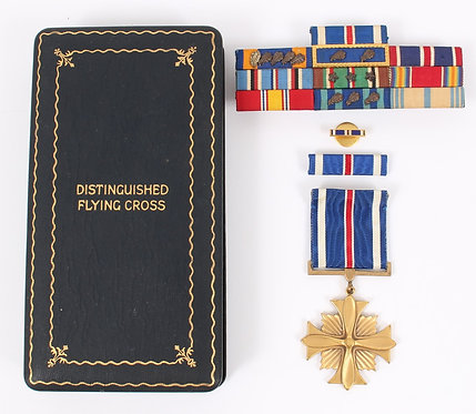 WWII AAF Distinguished Flying Cross Medal Numbered & ribbon bar