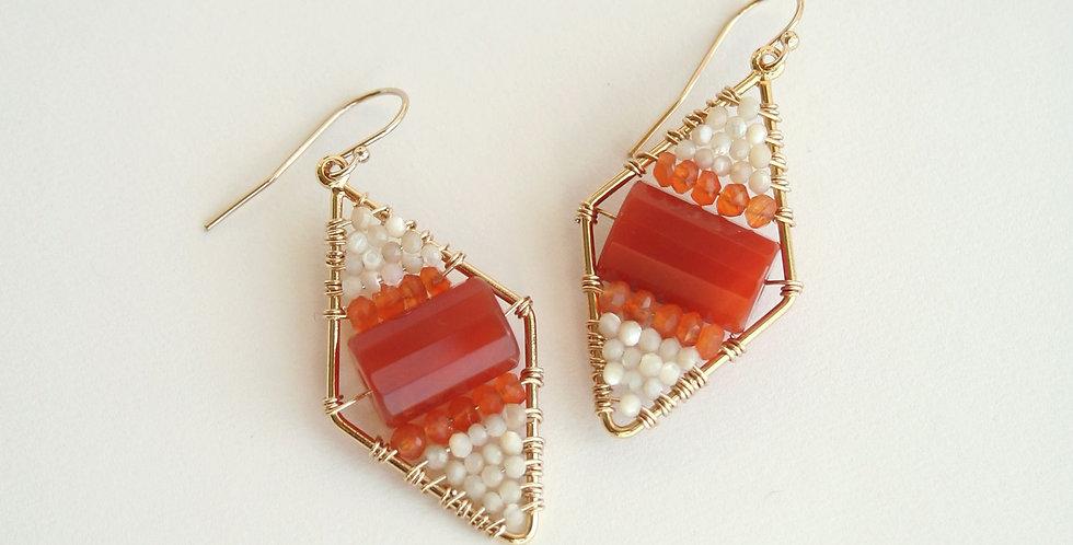 Carnelian Rhombus Earrings