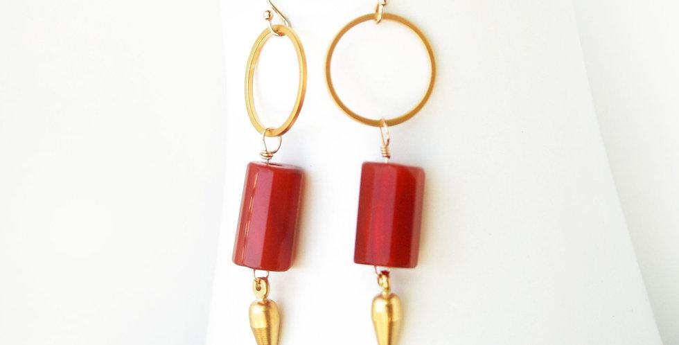 Carnelian Barrel Earrings