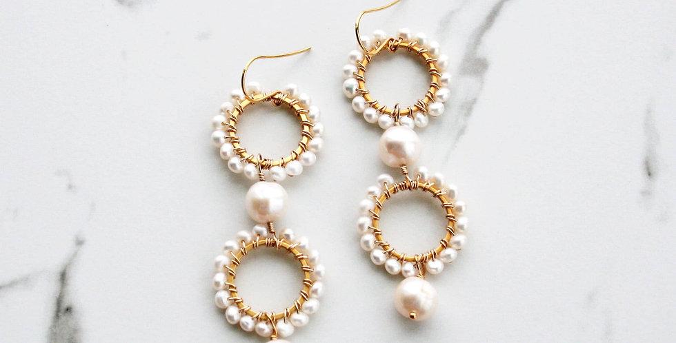 Long Pearl Bridal Earrings