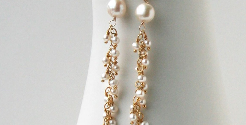 Pearl Post Dangle Earrings