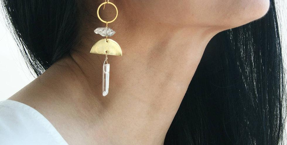 Long Herkimer Diamond Crystal Earrings