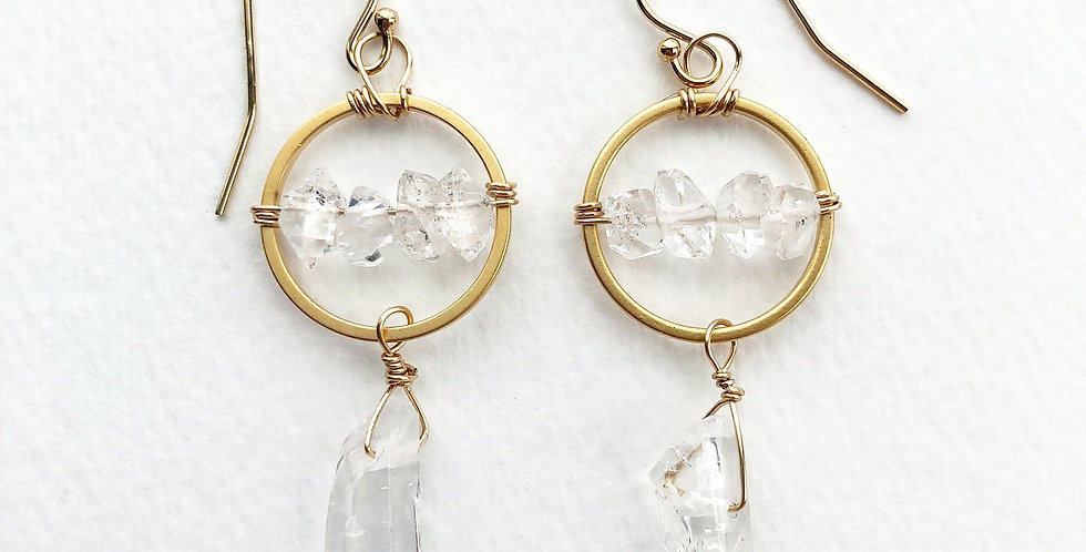 Raw Crystal Drop Earrings