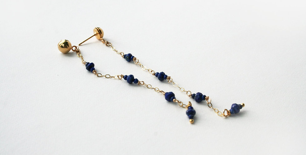 Long Lapis Post Earring