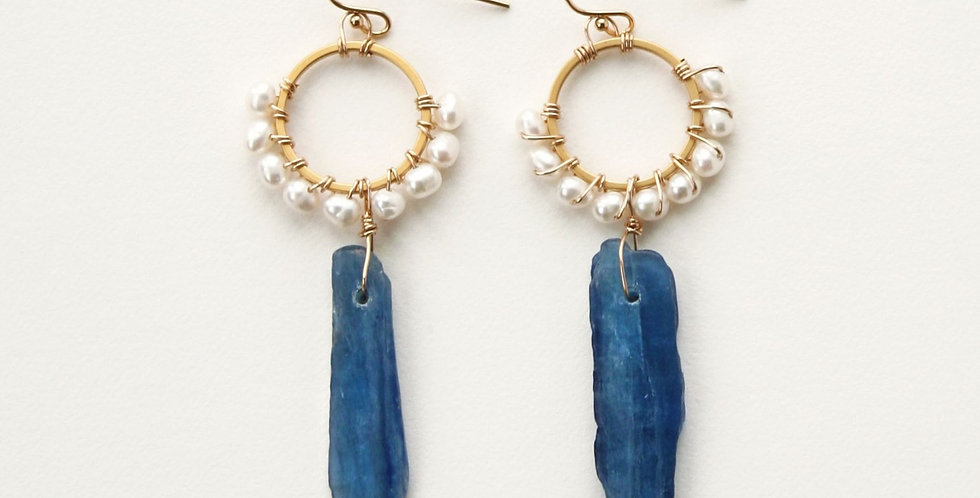 Kyanite + Pearl Earrings