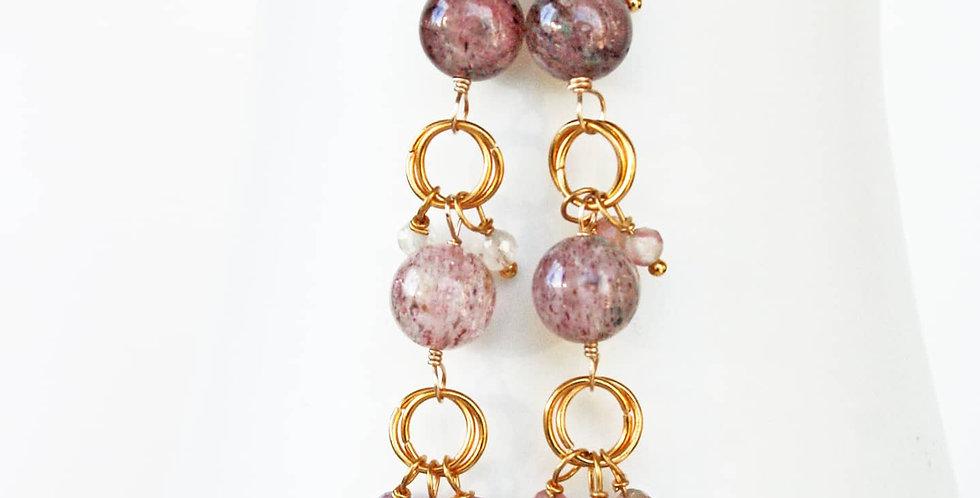 Long Pink Gemstone Earrings