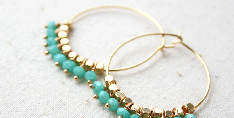 Amazonite Hoop Earrings | Laura Stark Designs