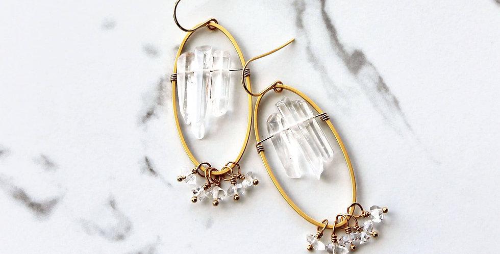 Crystal Oval Earrings