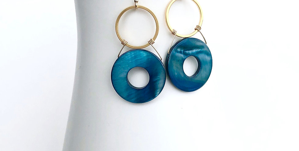 Blue Mother of Pearl Earrings