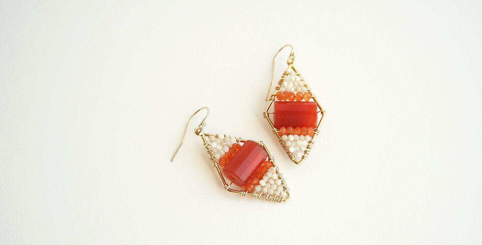 Mother of Pearl and Carnelian Earrings