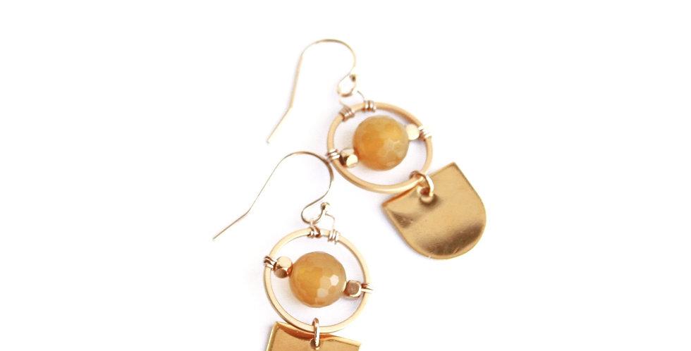 Agate Shield Earrings