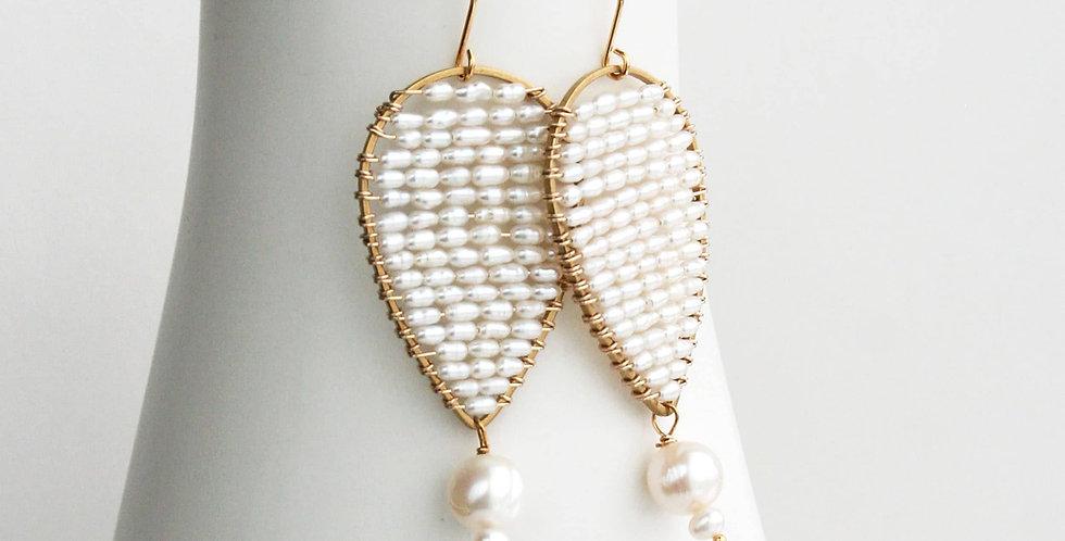 Modern Pearl Wedding Earrings