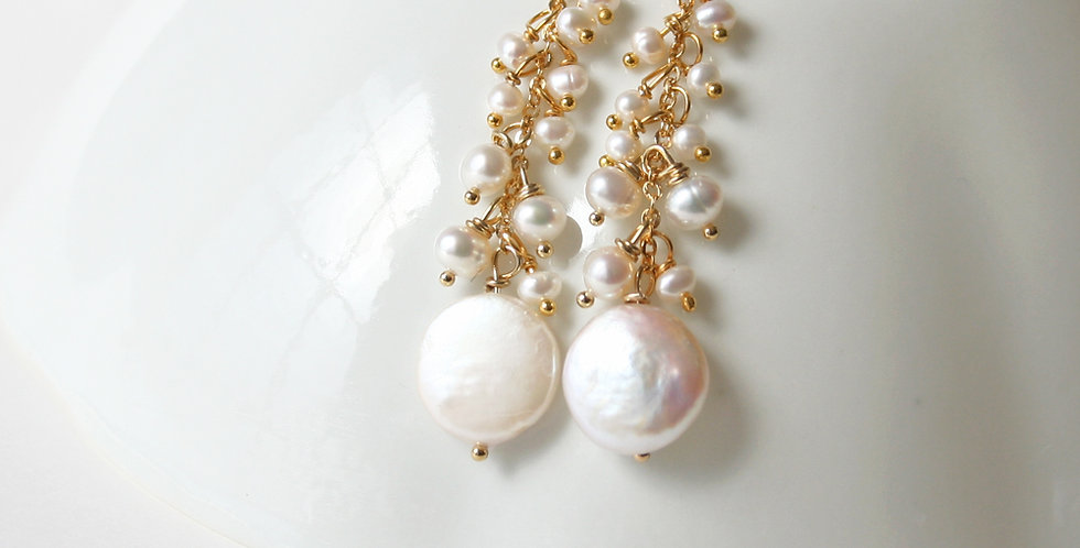Coin Pearl Drop Earrings | Laura Stark Designs