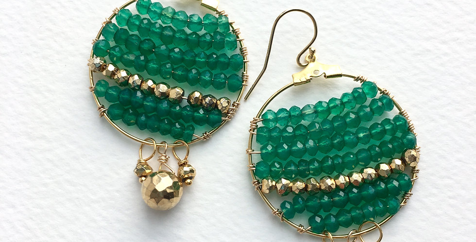 Gold and Green Earrings | Laura Stark Designs
