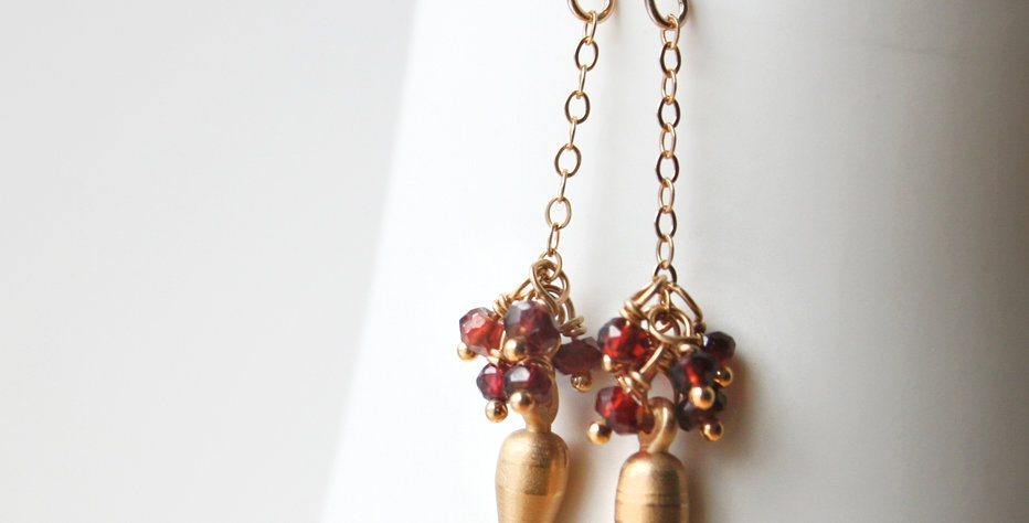 Garnet Spike Earrings