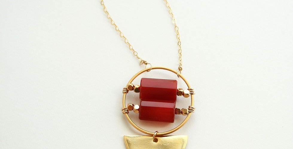 Double Barrel Carnelian Necklace