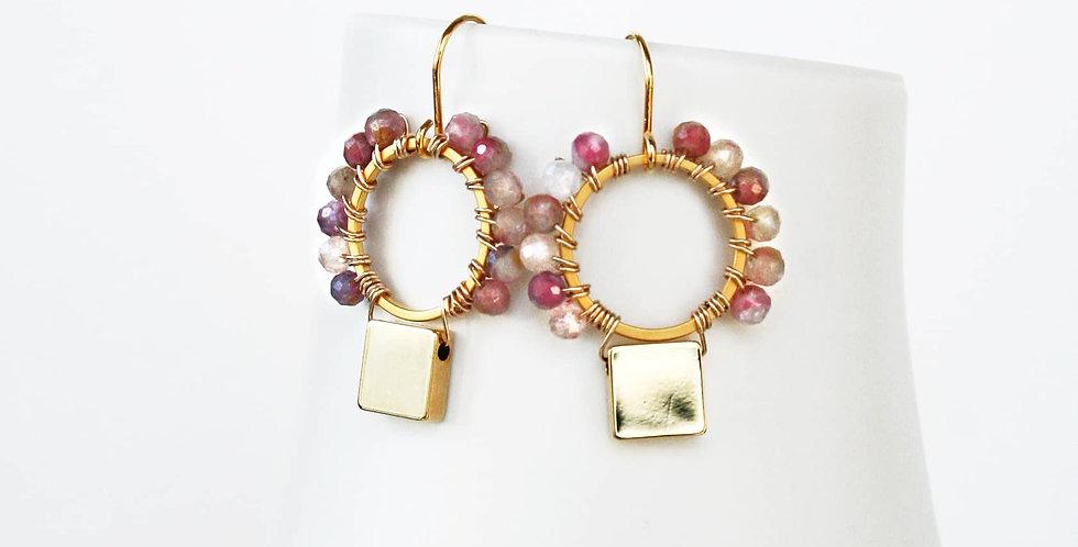 Modern Pink Gemstone Earrings