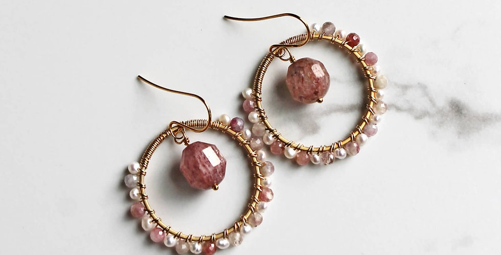 Pink Quartz Hoops, Spring Jewelry