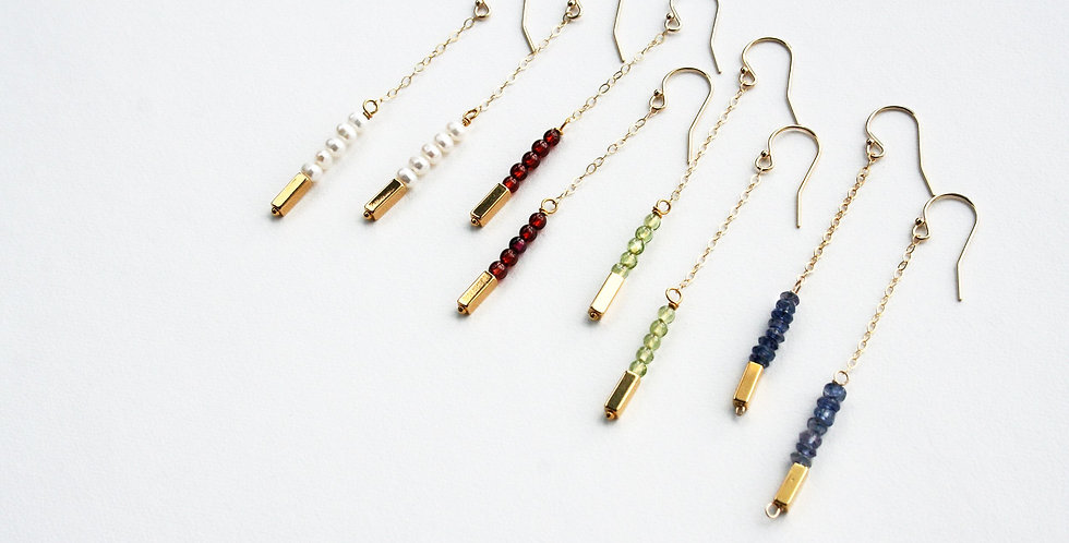 Gemstone + Gold Brick Earrings