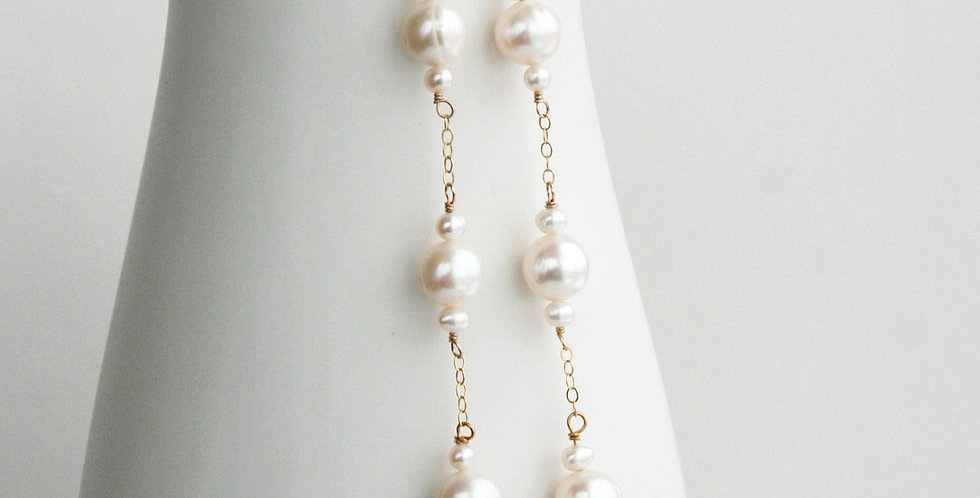 Long Pearl Wedding Earrings