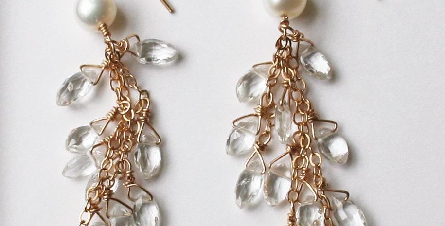 White Topaz Shard Earrings | Laura Stark Designs