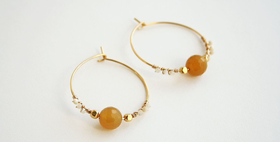 Agate Hoop Earrings