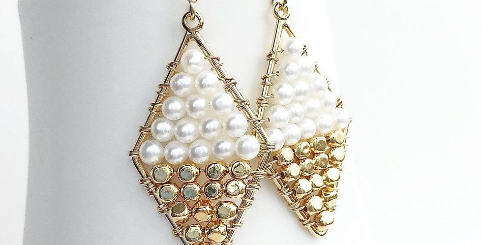 Pearl Color Block Earrings