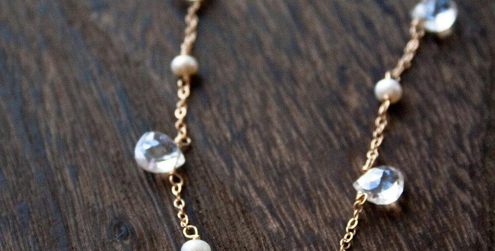 Quartz + Pearl Necklace