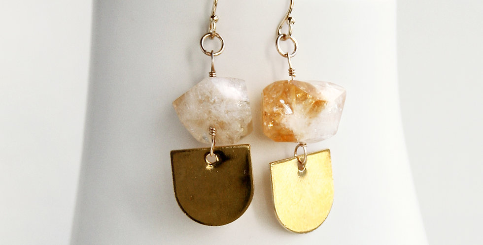 Citrine Nugget Earrings