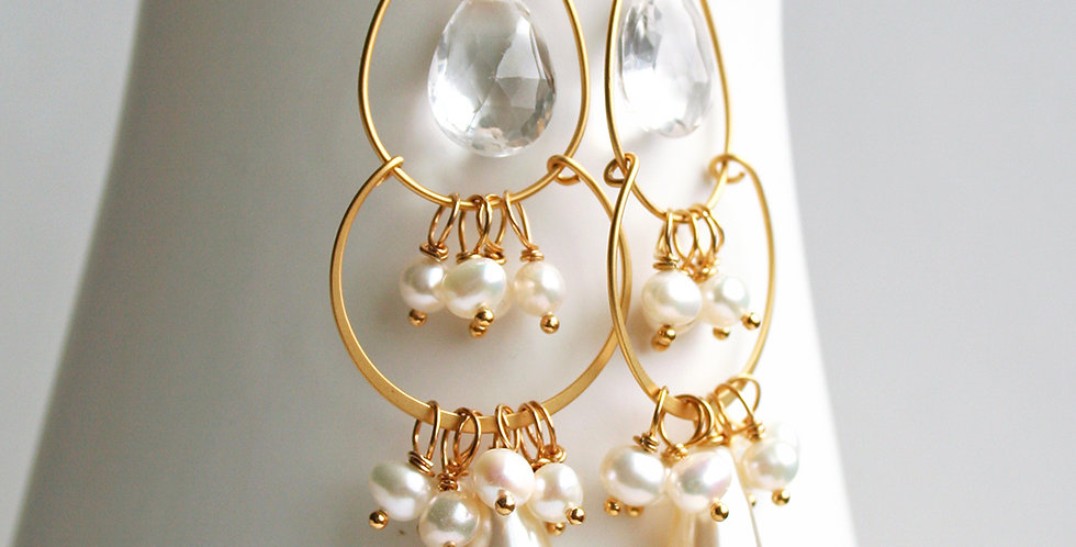 Pearl Crystal Chandelier Earrings