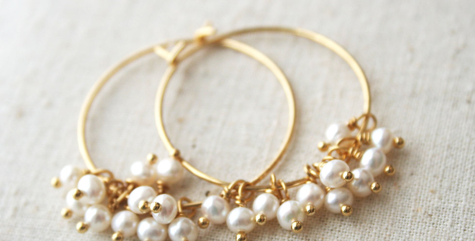Pearl Hoop Earrings | Laura Stark Designs