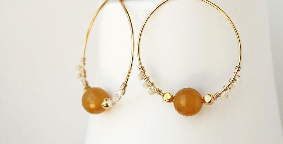 Agate Hoop Earrings