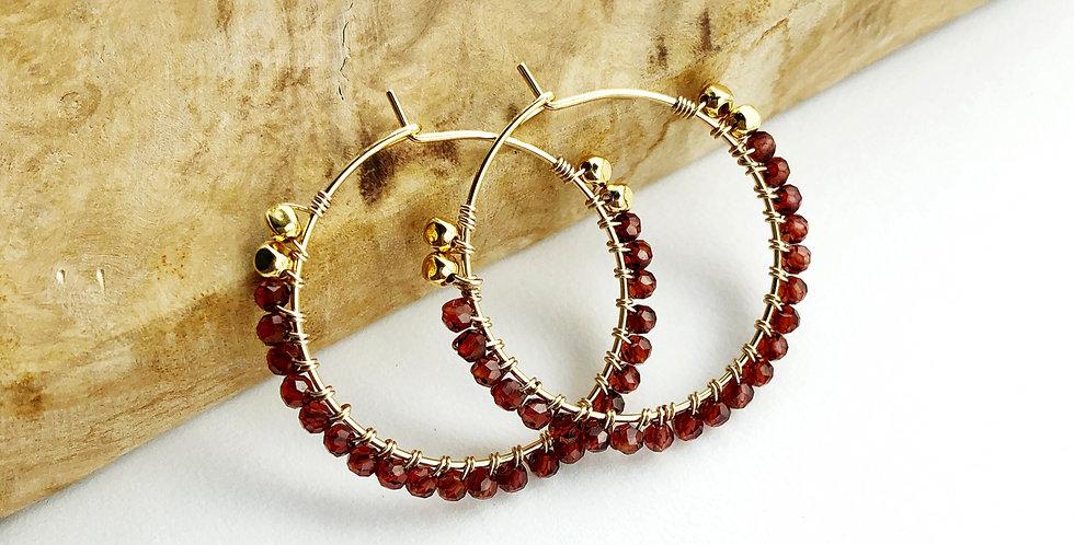 Garnet Wrap Hoop Earrings