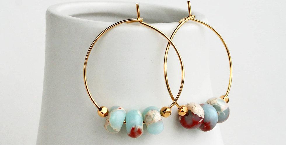 light blue hoop earrings