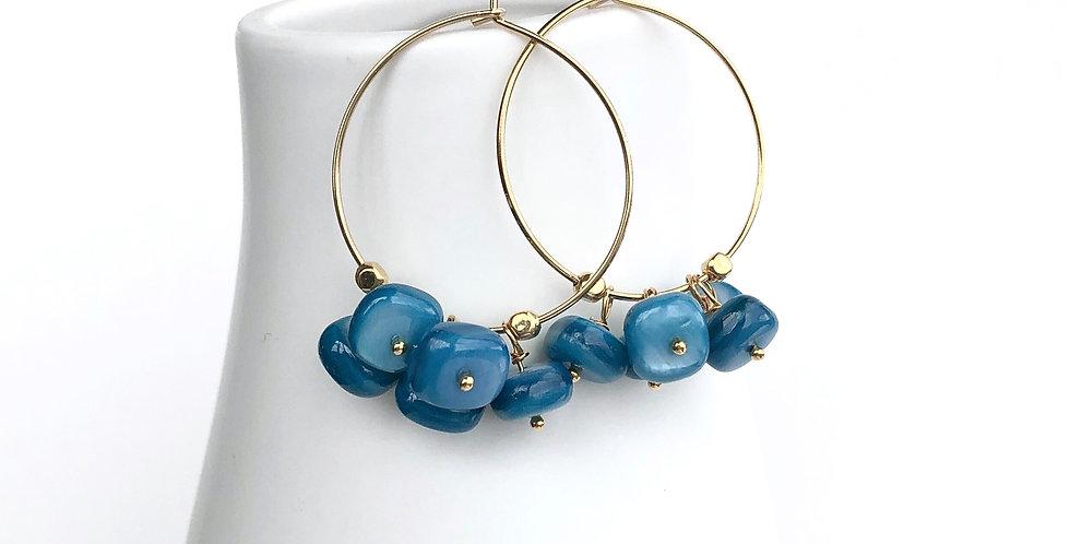 Blue Mother of Pearl Hoop Earrings