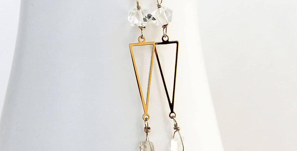 Long Crystal Dangle Earrings