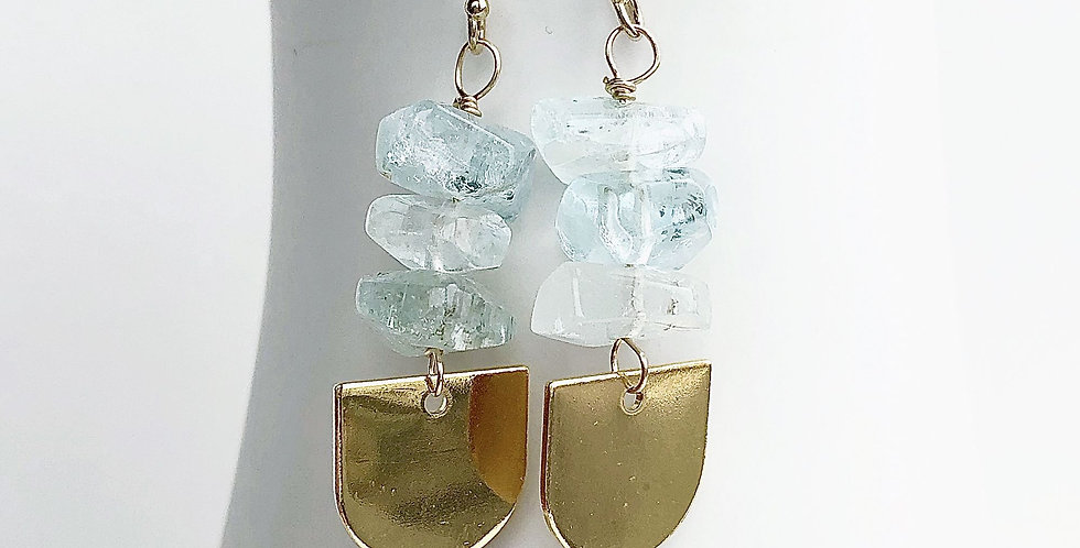 Aquamarine Rock Drop Earrings