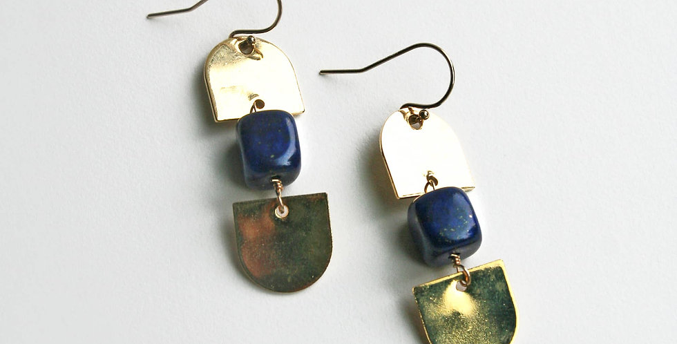 Modern Blue Lapis Lazuli Earrings