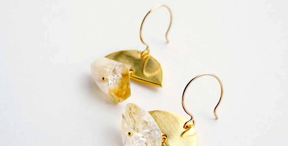 Half Moon Citrine Earrings