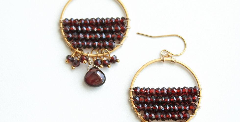 Garnet Circle Earrings
