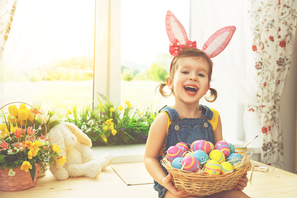 Smiling Child with Dental Friendly Easter Basket