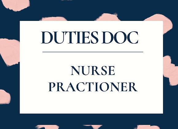 Nurse Practitoner Duties Doc