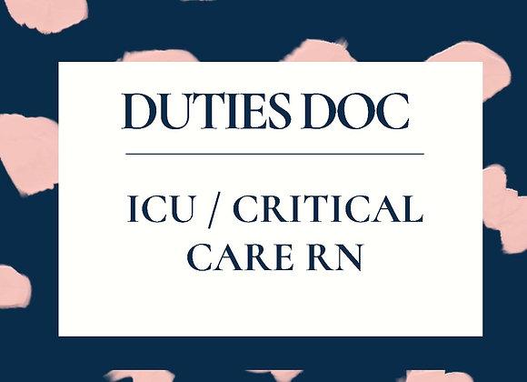 ICU/ Critical Care RN Duties Doc