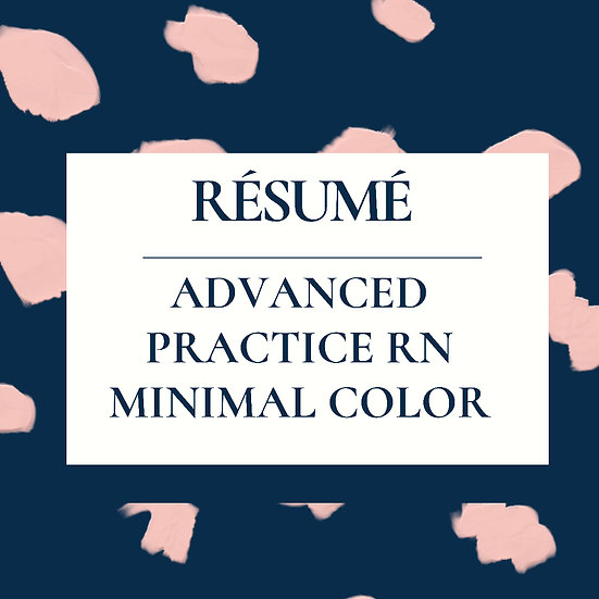 Advance Practice ReNegade Résumé Template (New Grad/ Novice)- Minimal Color