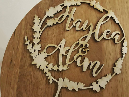 Wreath with Personalised NAME Cake Topper
